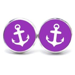 Druckknopf / Ohrstecker / Ohrhänger Anker maritim Meer violett weiß