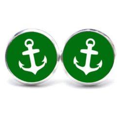 Druckknopf / Ohrstecker / Ohrhänger Anker maritim Meer grün weiß