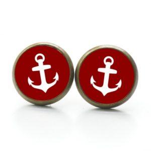 Ohrstecker / Ohrhänger Anker maritim Meer rot weiß