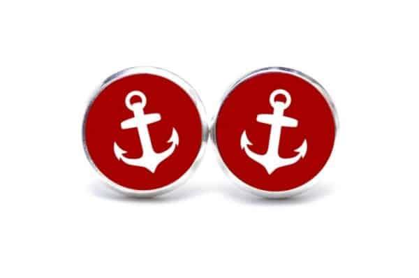 Druckknopf / Ohrstecker / Ohrhänger Anker maritim Meer rot weiß