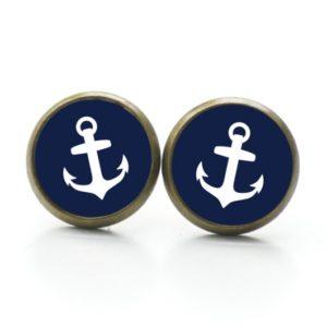 Ohrstecker / Ohrhänger dunkelblauer Anker maritim Meer