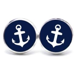 Druckknopf / Ohrstecker / Ohrhänger dunkelblauer Anker maritim Meer