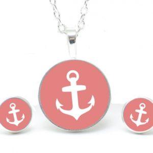 Ohrstecker / Ohrhänger rosa Anker maritim Meer