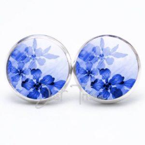 Druckknopf / Ohrstecker / Ohrhänger zarte Blumen in blau