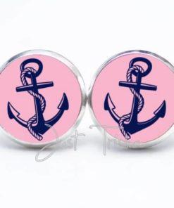 Druckknopf / Ohrstecker / Ohrhänger blau rosa Anker
