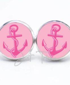 Druckknopf / Ohrstecker / Ohrhänger rosa Anker