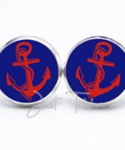 Druckknopf / Ohrstecker / Ohrhänger blau roter Anker