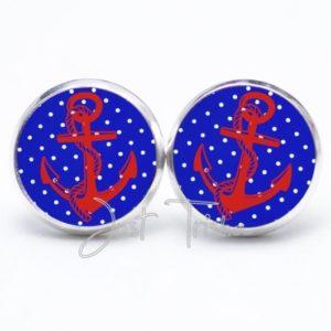 Druckknopf / Ohrstecker / Ohrhänger Anker blau und rot mit Pünktchen