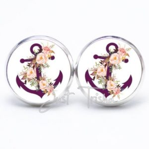Druckknopf / Ohrstecker / Ohrhänger Anker violet mit Rosen