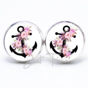 Druckknopf / Ohrstecker / Ohrhänger schwarzer Anker mit rosa Rosen
