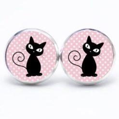 Druckknopf / Ohrstecker / Ohrhänger schwarze Katze