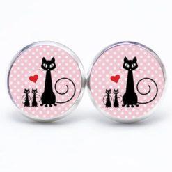 Druckknopf / Ohrstecker / Ohrhänger schwarze Katze mit kitten