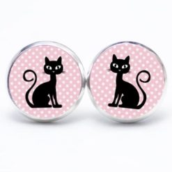 Druckknopf Ohrstecker Ohrhänger schwarz rosa Katze