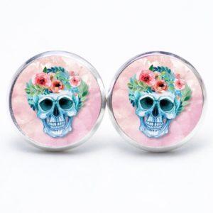 Druckknopf / Ohrstecker / Ohrhänger Totenkopf mit Blumen Frühling Rosa