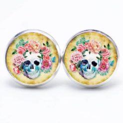Druckknopf Ohrstecker Ohrhänger Totenkopf mit Blumen Frühling Gelb