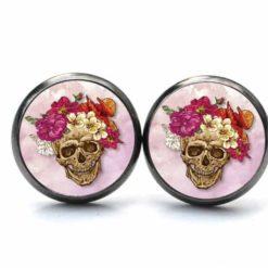 Druckknopf Ohrstecker Ohrhänger Totenkopf mit Blumen Frühling Rosa und Rot