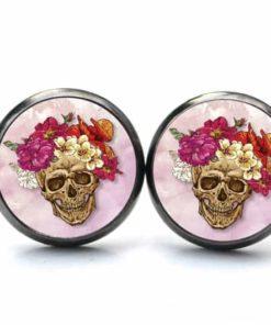 Druckknopf / Ohrstecker / Ohrhänger Totenkopf mit Blumen Frühling Rosa und Rot