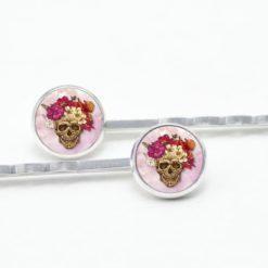 Haarspangen Totenkopf mit Blumen Frühling Rosa und Rot