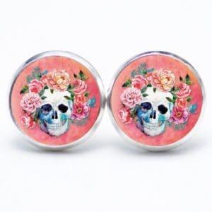 Druckknopf / Ohrstecker / Ohrhänger Totenkopf mit Blumen Frühling Rosarot
