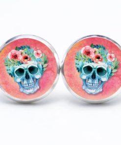 Druckknopf / Ohrstecker / Ohrhänger blauer Totenkopf mit Blumen Frühling Rosarot