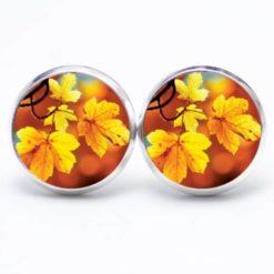 Druckknopf Ohrstecker Ohrhänger Herbst mit gelben Blüten