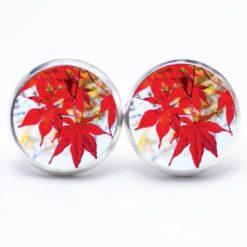 Druckknopf Ohrstecker Ohrhänger Herbst mit roten Blättern