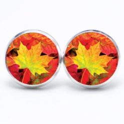 Druckknopf Ohrstecker Ohrhänger Herbst mit gelbem Blatt