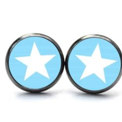 Druckknopf Ohrstecker Ohrhänger blauer Stern - Große Farbauswahl