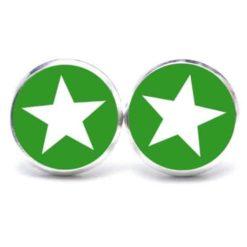 Druckknopf Ohrstecker Ohrhänger grüner Stern - Große Farbauswahl