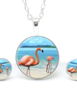 Druckknopf / Ohrstecker / Ohrhänger Flamingos