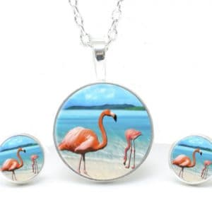 Set Kette mit Ohrringen Flamingo