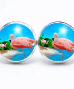 Druckknopf / Ohrstecker / Ohrhänger Flamingos in der Sonne