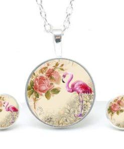 Druckknopf / Ohrstecker / Ohrhänger Flamingo mit Blumen