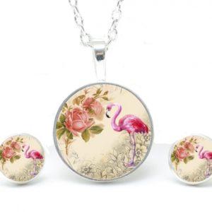Set Kette mit Ohrringen Flamingos mit Blumen