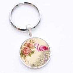Schlüsselanhänger Flamingo mit Blumen