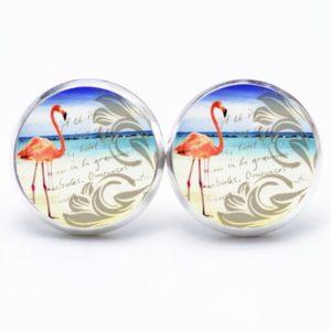 Druckknopf / Ohrstecker / Ohrhänger Flamingo am Strand