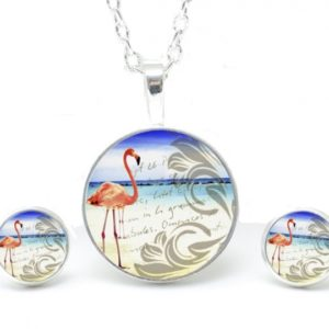 Set Kette mit Ohrringen Flamingo am Strand