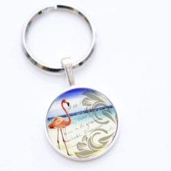 Schlüsselanhänger Flamingo am Strand