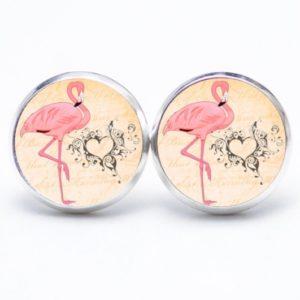 Druckknopf / Ohrstecker / Ohrhänger Flamingo mit Herz