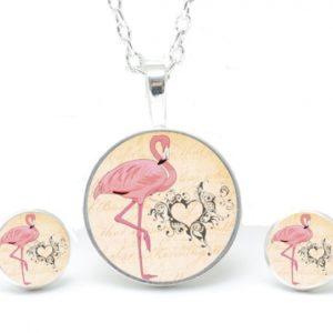 Set Kette mit Ohrringen Flamingo mit Herz