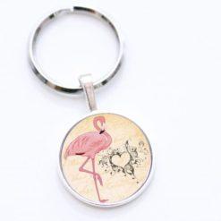 Schlüsselanhänger Flamingo mit Herz