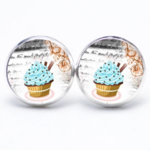 Druckknopf / Ohrstecker / Ohrhänger Cupcake hellblau