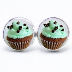 Druckknopf / Ohrstecker / Ohrhänger Cupcake grün