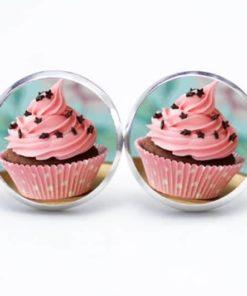 Druckknopf / Ohrstecker / Ohrhänger Cupcake rosa