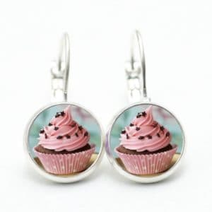 Set Kette mit Ohrringen Cupcake rosa