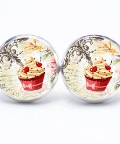 Druckknopf / Ohrstecker / Ohrhänger Cupcake rot mit Kirsche