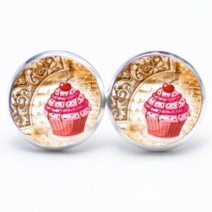 Druckknopf / Ohrstecker / Ohrhänger Cupcake rosa mit Kirsche