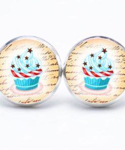Druckknopf / Ohrstecker / Ohrhänger Cupcake hellblau mit Sternen