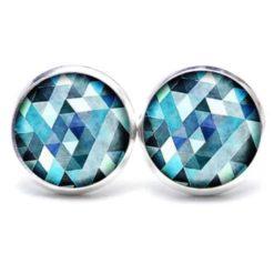 Druckknopf Ohrstecker Ohrhänger blau Mosaik Mandala Rauten Kaleidoskop