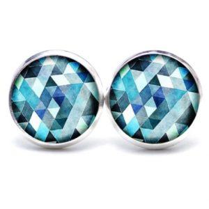 Druckknopf / Ohrstecker / Ohrhänger blau Mosaik Mandala Rauten Kaleidoskop